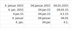Ulike datoformat i Excel